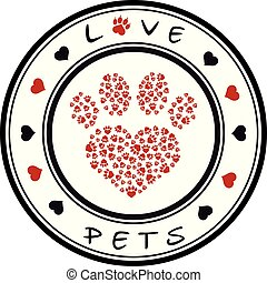 Vector illustration of a  stamp with a pet paw and a text love pets