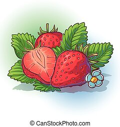 Vector illustration of a strawberry with leaves