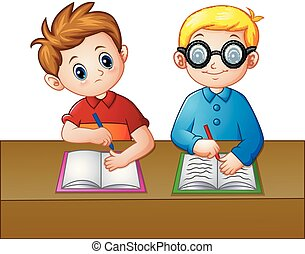 A Student looking over the notebook of his seatmate - Vector...
