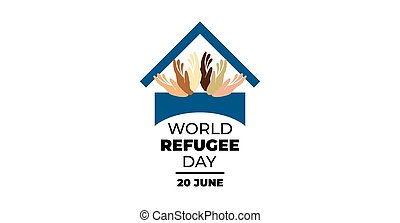 Vector illustration of a stylish text for World Refugee Day.
