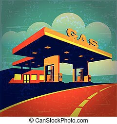petrol station - vector illustration of a stylized effect of...