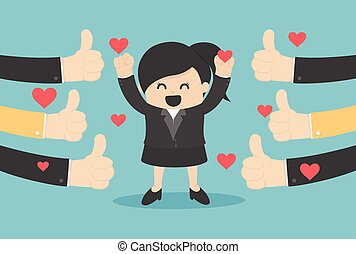 Vector illustration of a successful business woman many hands thumbs up