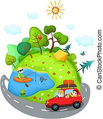 summer travel - vector illustration of a summer travel