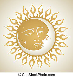 Vector illustration of a Sun and Moon