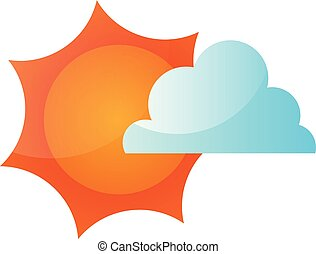 Vector illustration of a sun covered with a cloud on white background