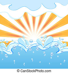 Vector illustration of a sun with the waves and water  drops
