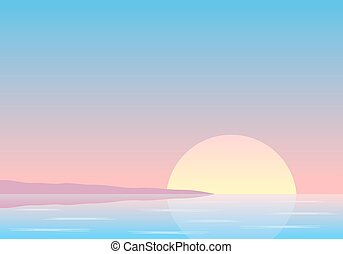 sunset over the sea with coast