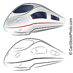 Vector illustration of a Superfast train in two version: outlines and full color