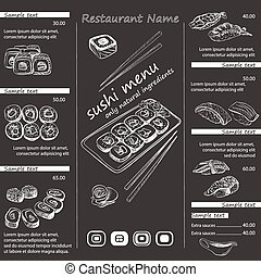 vector illustration of a sushi menu template