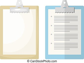 Vector illustration of a tablet with paper in Cartoon and flat style on a white background