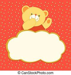 Vector illustration of a teddy bear, a kiss.