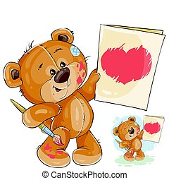Vector illustration of a teddy bear holding in the paws a painted picture with a red heart.