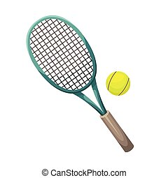 Vector illustration of a tennis racket with a ball. Training. Sport.