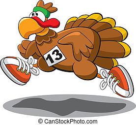 Vector illustration of a Thanksgiving Turkey Trot.