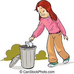 vector illustration of a The children throw garbage
