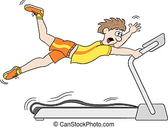 too fast treadmill workout - vector illustration of a too ...