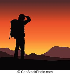 Vector illustration of a tourist with a backpack looking in the distance in a mountain landscape under an orange sky in the sunrise