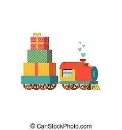 Vector illustration of a toy train with presents - Vector...