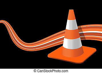 vector illustration of a traffic cone