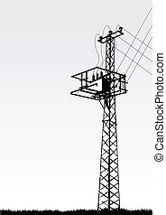 transmission tower - vector illustration of a transmission ...