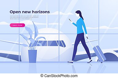 Vector illustration of a traveling young woman with mobile phone and suitcase at the airport terminal