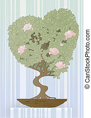 Vector illustration of a tree in the shape of a heart. Abstract