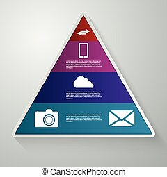 vector illustration of a triangle with the sectors