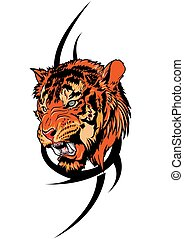 vector illustration of a tribal tiger tattoo