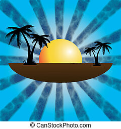 Vector illustration of a tropical sunset and palm trees.
