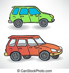 Vector illustration of a two cars on the road