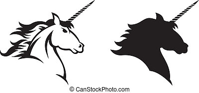 Unicorn - Vector illustration of a Unicorn%u2019s head and...