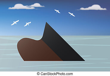 a vessel of crude oil sinking into the sea