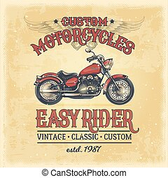 Vector illustration of a vintage poster with a custom motorcycle