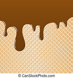 vector illustration of a waffle topped with chocolate as background