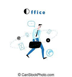 Vector illustration of a walking manager to work