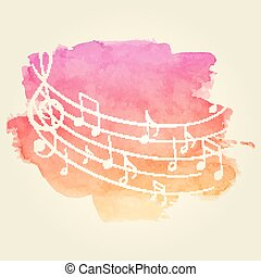 Watercolor Music Background - Vector Illustration of a ...