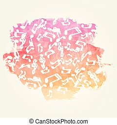 Watercolor Music Background - Vector Illustration of a...