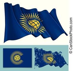 Waving Flag of British Commonwealth - Vector illustration of...