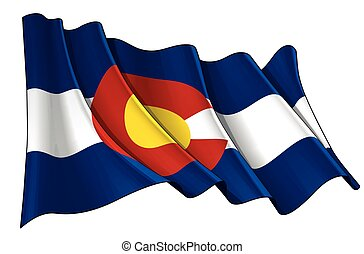Waving Flag of the State of Colorado