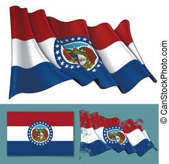 Waving Flag of the State of Missouri - Vector illustration...