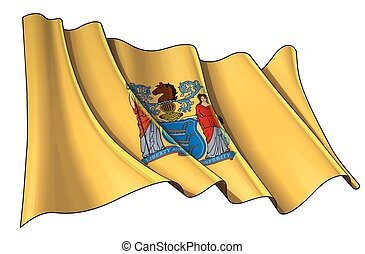 Vector illustration of a Waving Flag of the State of New Jersey. All elements neatly on well-defined layers and groups.