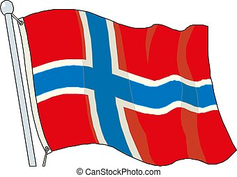 Vector Illustration of a Waving Norway Flag.