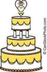 Wedding Cake - Vector Illustration of a Wedding Cake.