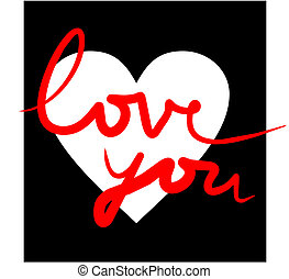 Vector illustration of a white heart on a black background with the text I love you