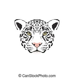 Vector illustration of a white jaguar head.