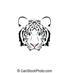 Vector illustration of a white tiger head with blue eye.