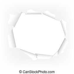 torn paper hole - vector illustration of a white torn paper...