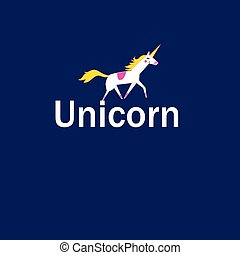 Vector illustration of a white unicorn