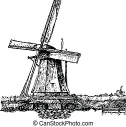 Vector illustration of a windmill stylized as engraving. A traditional mill in Holland. Kinderdijk.