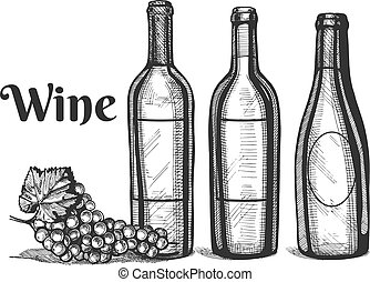 a wine bottles and grapes bunch